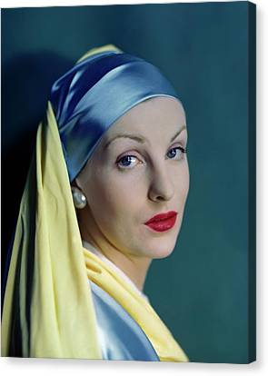 A Model In The Style Of Johannes Vermeer's Girl Canvas Print