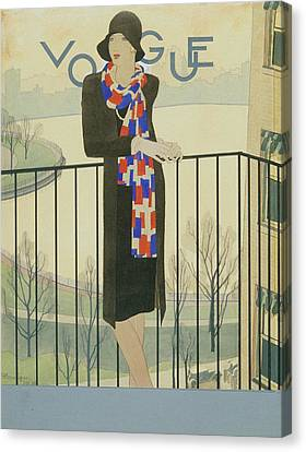 Cloche Hat Canvas Print - A Model On A Balcony by Pierre Mourgue