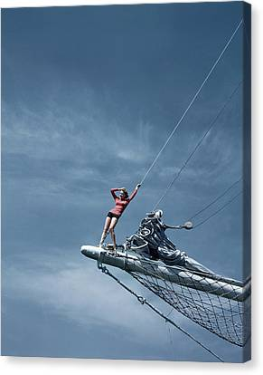 Net Canvas Print - A Model On A Ship by Toni Frissell