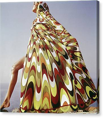 Fashion Model Canvas Print - A Model Posing In A Colorful Cover-up by Henry Clarke