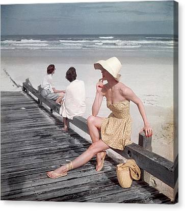 A Model Sitting On A Ramp Canvas Print by Serge Balkin