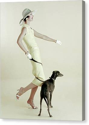 A Model Walking A Dog Canvas Print
