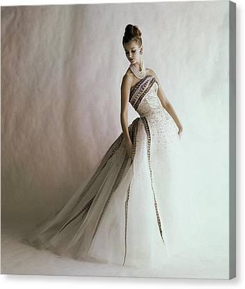 A Model Wearing A Balmain Dress Canvas Print