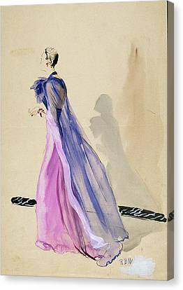 A Model Wearing A Blue Cape And Pink Chiffon Canvas Print