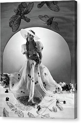 A Model Wearing A Bridesmaid Dress Canvas Print by Horst P. Horst