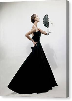A Model Wearing A Christian Dior Dress Canvas Print