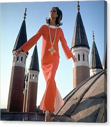 Istanbul Canvas Print - A Model Wearing A Christian Dior Dress by Henry Clarke