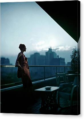 Leaning Canvas Print - A Model Wearing A Clare Potter Dress At Moma by Constantin Joffe