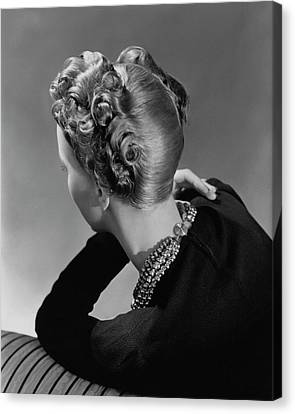 A Model Wearing A Curled Hairstyle Canvas Print