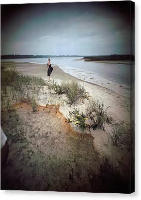 A Model Wearing A Dress On A Beach Canvas Print by Serge Balkin