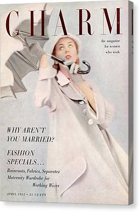 A Model Wearing A Duster Coat By Duchess Royal Canvas Print by Milton Greene