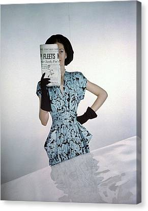 A Model Wearing A Floral Blue Dress Canvas Print by Constantin Joffe