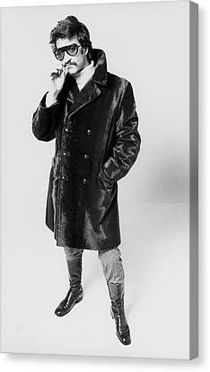 Young Man Canvas Print - A Model Wearing A Fur Coat by Peter Levy