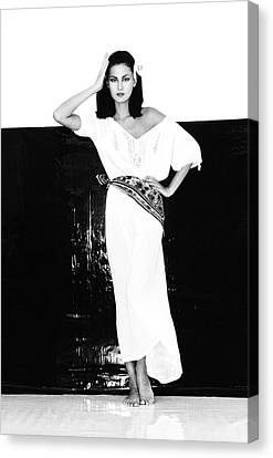 A Model Wearing A Gauze Shirt And Pants Canvas Print