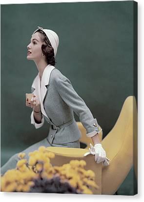 A Model Wearing A George Carmel Suit Canvas Print by Karen Radkai
