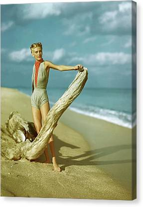 A Model Wearing A Gray V-midriff Swimsuit Canvas Print