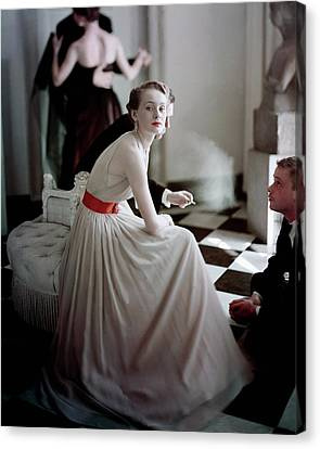 A Model Wearing A Harry Keiser Dress Canvas Print by Frances Mclaughlin-Gill