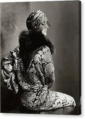A Model Wearing A Headdress And Brocade Coat Canvas Print by Edward Steichen