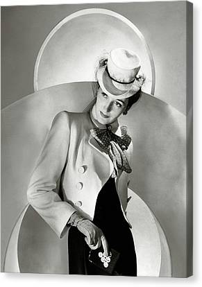 Cravat Canvas Print - A Model Wearing A Jacket And Hat by Horst P. Horst