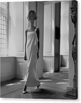 A Model Wearing A Jean Louis Gown Canvas Print by Horst P. Horst