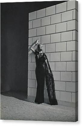 Decolletage Canvas Print - A Model Wearing A Mainbocher Dress by Horst P. Horst
