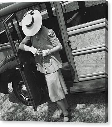 A Model Wearing A Maternity Suit Canvas Print by Toni Frissell