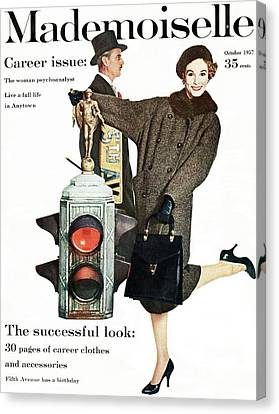 A Model Wearing A Modelia Tweed Coat Canvas Print by Stephen Colhoun