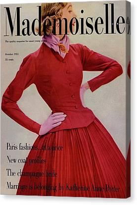 A Model Wearing A Rappi Taffeta Dress Canvas Print
