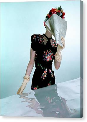 A Model Wearing A Rayon Crepe Dress Canvas Print by Constantin Joff?