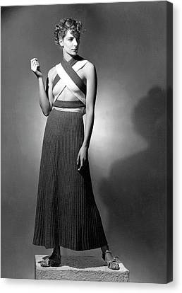 A Model Wearing A Ribbed Knit Dress Canvas Print