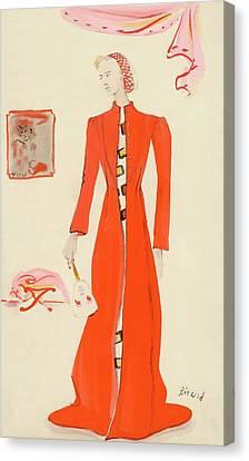 A Model Wearing A Schiaparelli Military Red Coat Canvas Print by Christian Berard