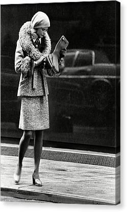 A Model Wearing A Seymour Fox Suit Canvas Print by Kourken Pakchanian