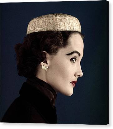 A Model Wearing A Siam Hat Canvas Print by Horst P. Horst