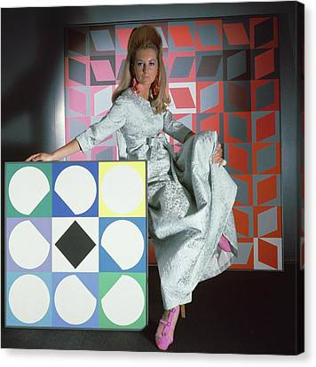 A Model Wearing A Stella Robe With Vasarely Canvas Print by Horst P. Horst