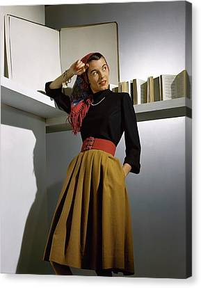 Gold Necklace Canvas Print - A Model Wearing A Sweater by Horst P. Horst