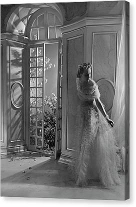 A Model Wearing A Tulle Dress Canvas Print