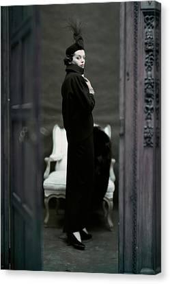 Adele Canvas Print - A Model Wearing An Adele Simpsons Ensemble by John Rawlings