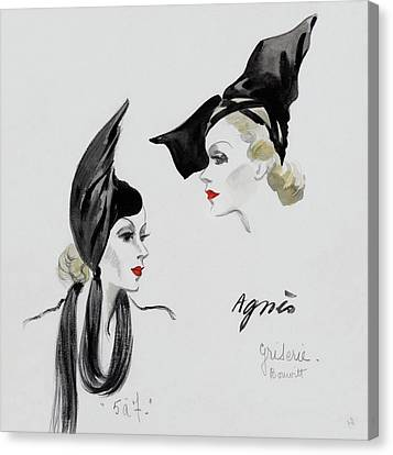 A Model Wearing An Agnes Hat Canvas Print by  David