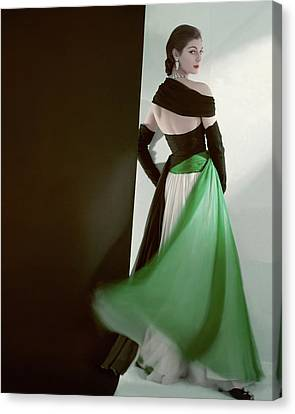 A Model Wearing An Evening Gown Canvas Print by Horst P. Horst