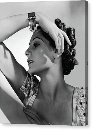 A Model Wearing Black Starr & Frost-gorham Canvas Print by Horst P. Horst
