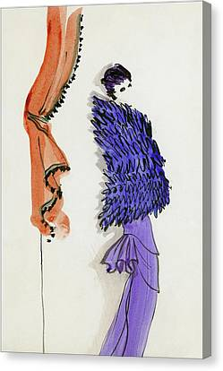 A Model Wearing Patou Canvas Print by Christian Berard