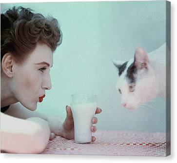 Making Canvas Print - A Model With A Cat by Richard Rutledge