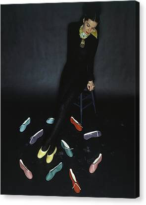 A Model With Footlights Ballet Slippers Canvas Print