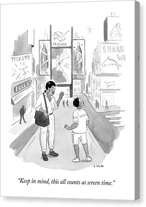 A Mom Says To Her Enraptured Son In Times Square Canvas Print by Emily Flake