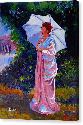 A Moment To Reflect In The Garden Canvas Print by Susan Duda