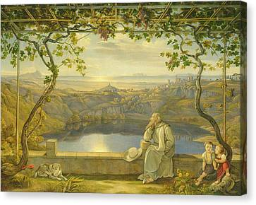 A Monk On A Terrace At The Nemi Lake Canvas Print