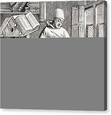 A Monk Scribe Surrounded By Manuscripts And Books At His Desk, After A 15th Century Work, From Les Canvas Print by French School