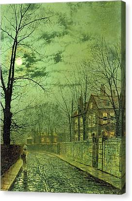 A Moonlit Road Canvas Print by John Atkinson Grimshaw