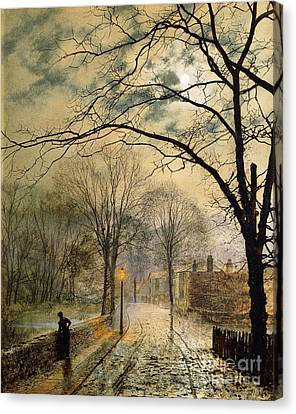 Bare Trees Canvas Print - A Moonlit Stroll Bonchurch Isle Of Wight by John Atkinson Grimshaw