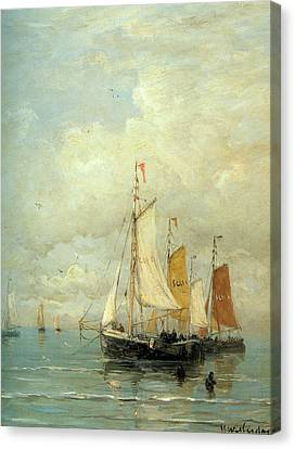 Sailboat Ocean Canvas Print - A Moored Fishing Fleet by Hendrik Mesdag Willem
